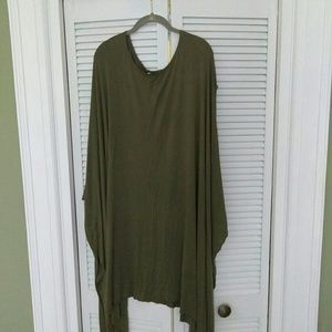 Tops - Oversized drape top green rayon blend spandex